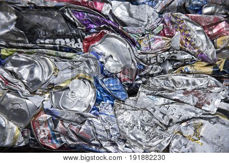 Atco New Jersey - June 19 2017 : Abstraction of crushed aluminum metal cans in cube.