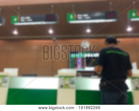 Abstract blur background of bank counter .