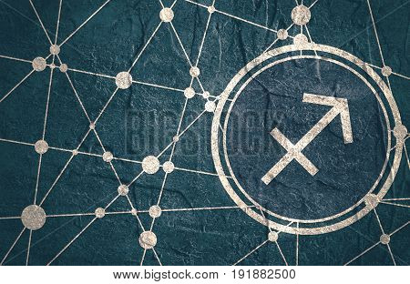 Zodiac symbol in circle.Concrete grunge texture. Molecule And Communication Background. Connected lines with dots. Modern brochure, report or cover design template. Sign of the Archer.
