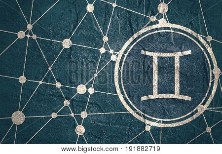 Zodiac symbol in circle. Concrete grunge texture. Molecule And Communication Background. Connected lines with dots. Modern brochure, report or cover design template. Sign of the Twins