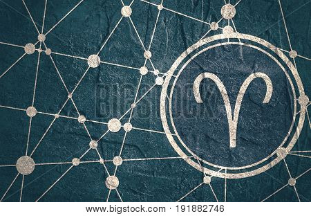 Zodiac symbol in circle. Concrete grunge texture. Molecule And Communication Background. Connected lines with dots. Modern brochure, report or cover design template. Sign of the Ram