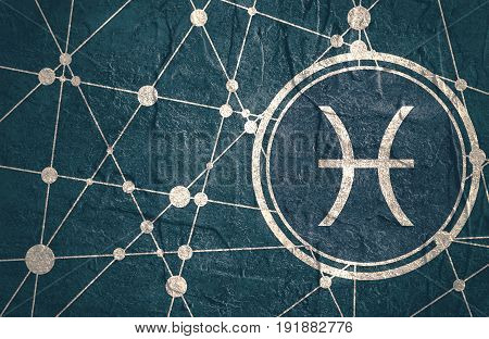 Zodiac symbol in circle. Concrete grunge texture. Molecule And Communication Background. Connected lines with dots. Modern brochure, report or cover design template. Sign of the Fish