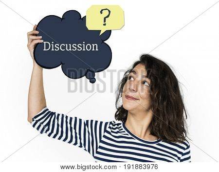 Woman holding speech bubble about customer service concept