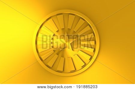 Stamp icon. Graphic design elements. 3D rendering. Golden metallic material
