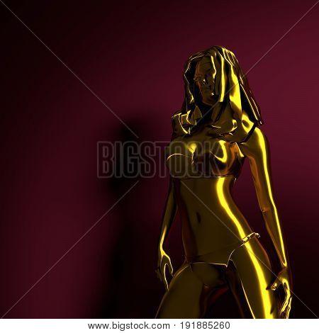 Female mannequin poses erotic, sexy design. 3D rendering. Metallic material
