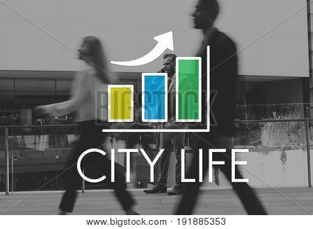 Business Bar Graph Busy City People Illustration