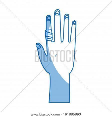 human hand with finger bandage medical vector illustration