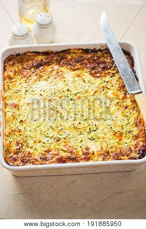 Zucchini courgette bacon cheese savoury cake frittata