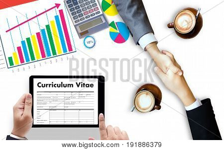 Cv - Curriculum Vitae (job Interview Concept With Business Cv Resume) , Business Office Businessman