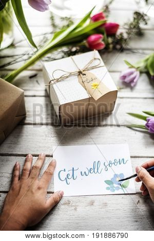 Hand  Writing Get Well Soon Card
