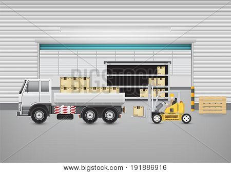 Forklift working with cargo container and truck with warehouse building background for shipping and transportation concept.