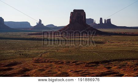 Cinematic panorama of the ever famous Monument Valley