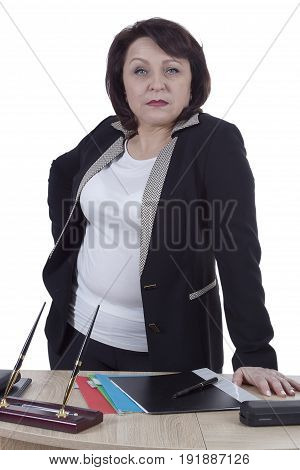 Terrible business woman at the desk on a white background