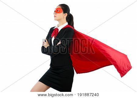Woman In Superhero Clothing Goggles And Cloak