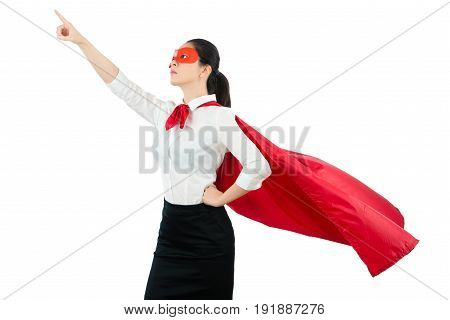 Lady Is Dressed Up As A Superhero And Pointing Up