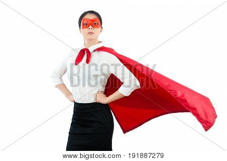 Super Female Office Worker Over  White Background