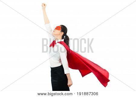 Asian Office Woman Acting Like A Superhero On Top