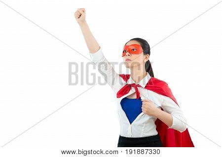 Superhero Gesturing Fistand Raise Hand Above