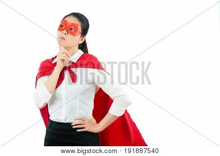Girl Stand In Front Of Copyspace Focus On Air