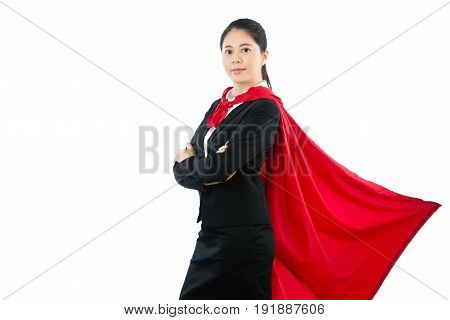 Business Woman In Red Superhero Cloak In Suit