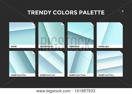 Glass facet gradient template. Collection palette of clear blue and green glass gradient illustrations for backgrounds and textures. Realistic glass squares palettes, vector icons. Vector Illustration