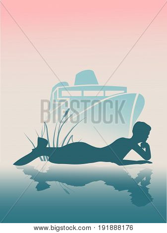 Vector illustrations of silhouette of lying beautiful mermaid. Short hair. Woman reflected in the ocean water. A figure in a waiting pose. Sunset at sea. Transoceanic cruise ship at backdrop