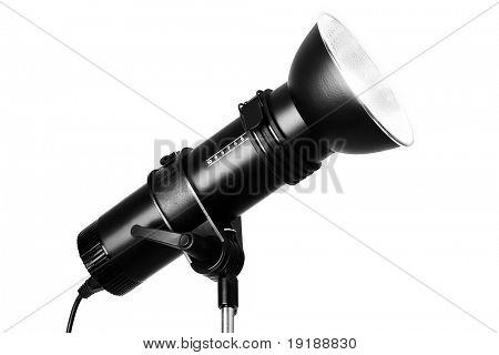 Studio flash photography spotlight isolated on white background