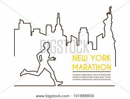 Line silhouettes of male runner. Running marathon, poster design.
