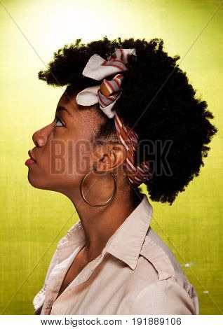 Profile of an African American Woman with an afro.