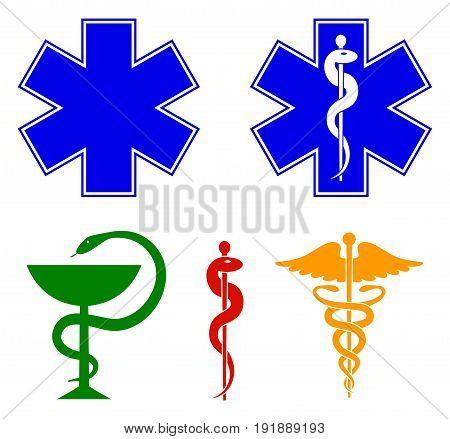 Medical international symbols set. Star of life staff of Asclepius caduceus bowl with a snake. Vector illustration.