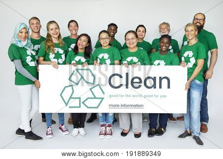 Group of diverse people with environmental concept