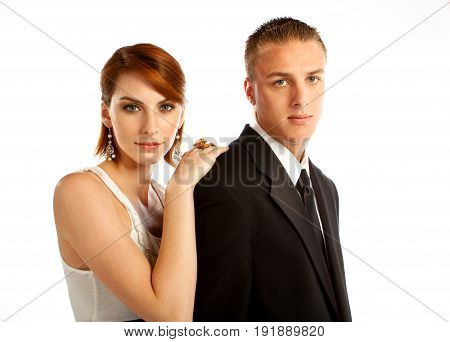 Well dressed man and woman isolated on white.