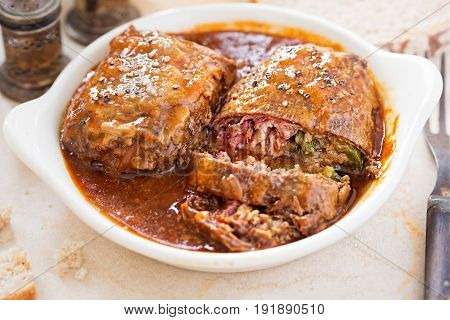 Zrazy Polish beef roulades with bacon and gherkins