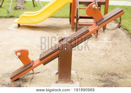 Rocking Horse in the children playground .