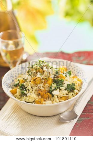 Butternut kale squash risotto with white wine