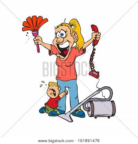 Caricature woman with tired face and crying child. Vector Illustration.