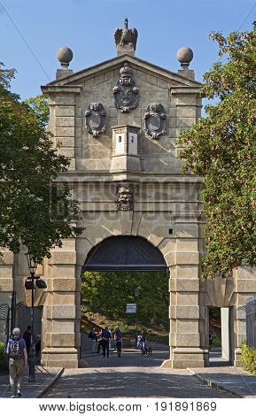 Prague -September 25 2016: An unidentified people near Leopold gate in Vysehrad.