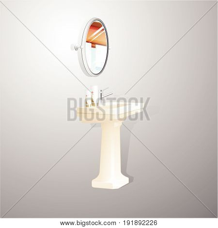 washstand isolated on white background. Vector Illustration.
