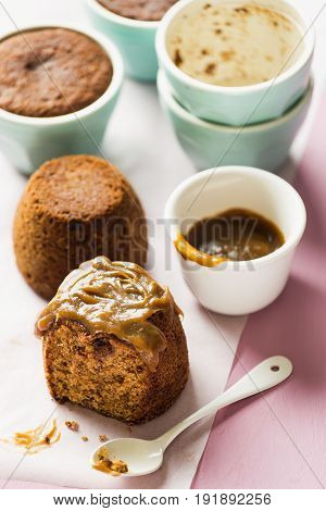 Ginger sticky toffee pudding with caramel sauce