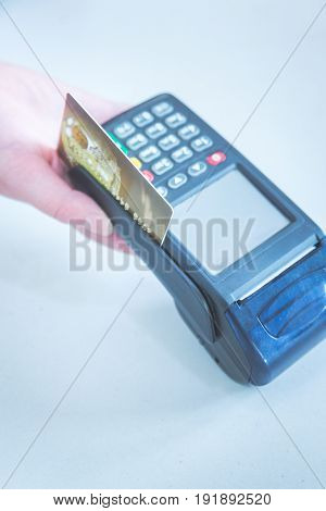 Card payment with chip and pin machine in shop