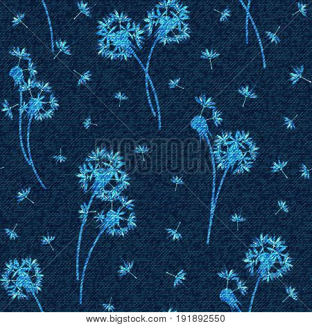 Vector denim floral seamless pattern. Faded jeans background with dandelion flowers. Blue jeans cloth background.