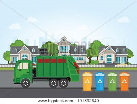 City waste recycling concept with garbage truck on village landscape background. Vector illustration in flat design.