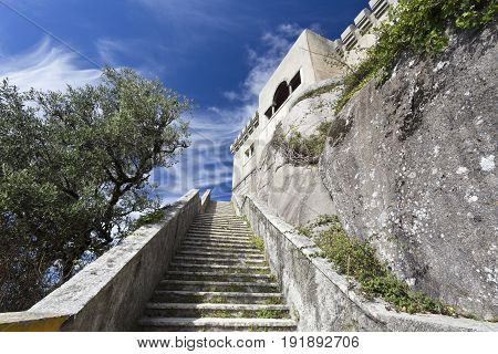 Stairway to the Peninha Sanctuary located in the Sintra Mountain range near Lisbon Portugal