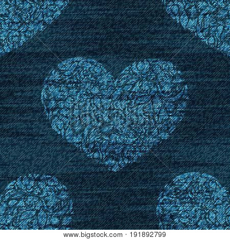 Vector denim romantic seamless pattern. Faded jeans background with zentangle hearts. Blue jeans cloth background.