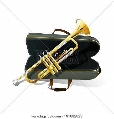 Brass trumpet icon. Philharmonic orchestra isolated vector icon