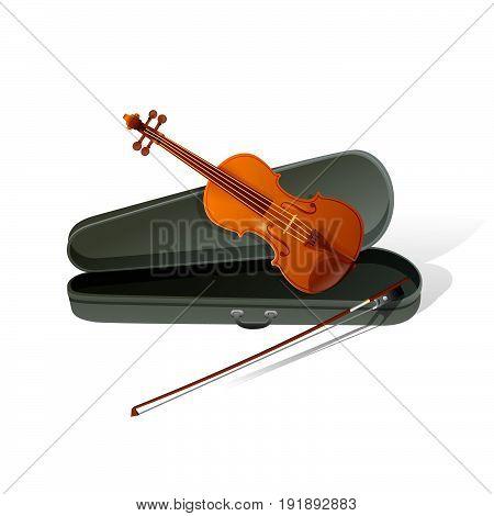 Realistic violin isolated white background.. Vector Illustration design