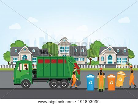 City waste recycling concept with garbage truck and garbage collector on village landscape background. Vector illustration in flat design. poster