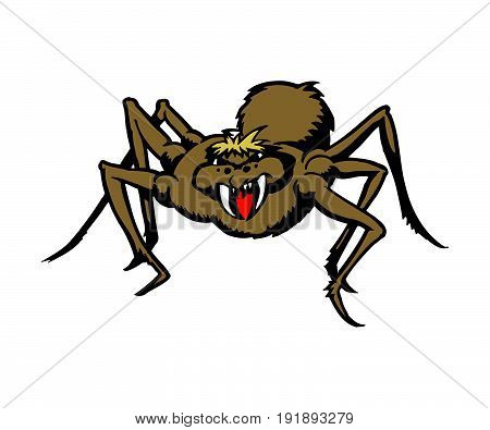 Monster spider cartoon. animal character . Vector Illustration design