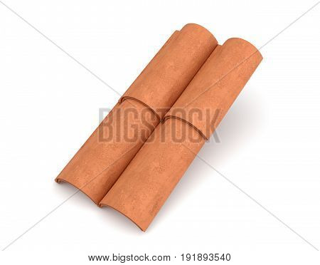 3d rendering of four interlocked terracotta barrel tiles isolated on white background. Weatherproof house. Good quality tiles. Exterior building design.