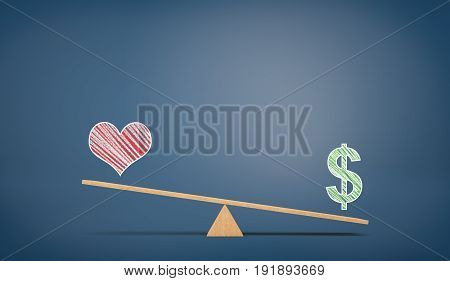 A wooden seesaw on blue chalkboard background with a drawn USD sign overweighing a heart sign. Passion versus profit. Money against love. Family or career choice.
